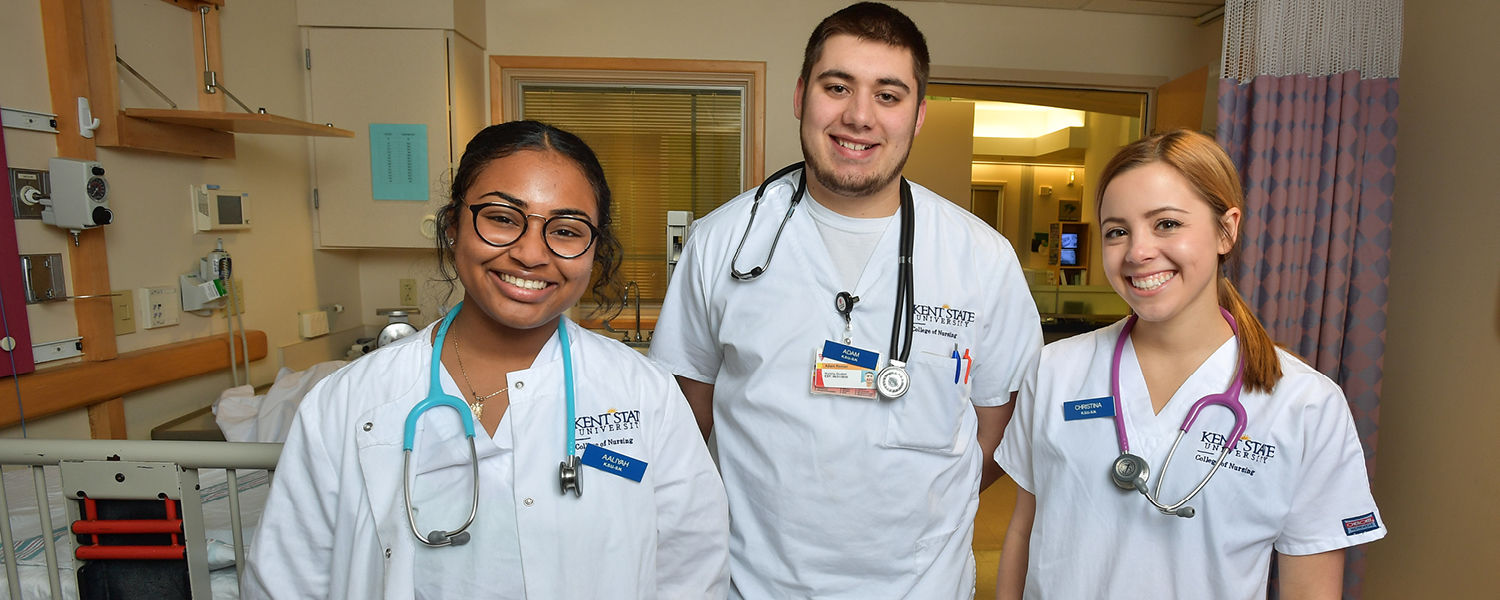 Kent State University College of Nursing juniors (from left) Aaliyah Davis, Adam Roman and Christina Hansen serve their clinical rotations at University Hospitals of Cleveland.
