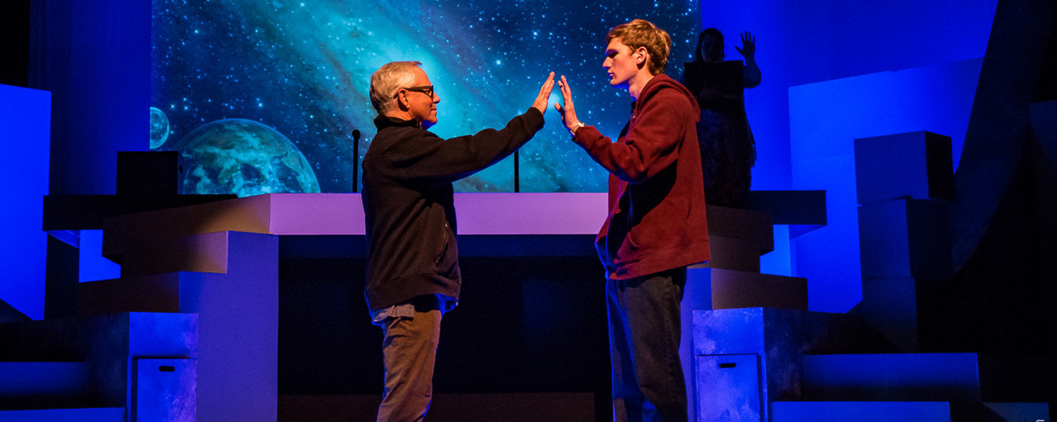 Senior integrated language arts major Maxwell Rees (right) was inspired by his brother, who is on the autism spectrum, in the role of a 15-year-old boy with the same diagnosis in a Weathervane Playhouse production. (Photo credit: Aimee Lambes Photography)