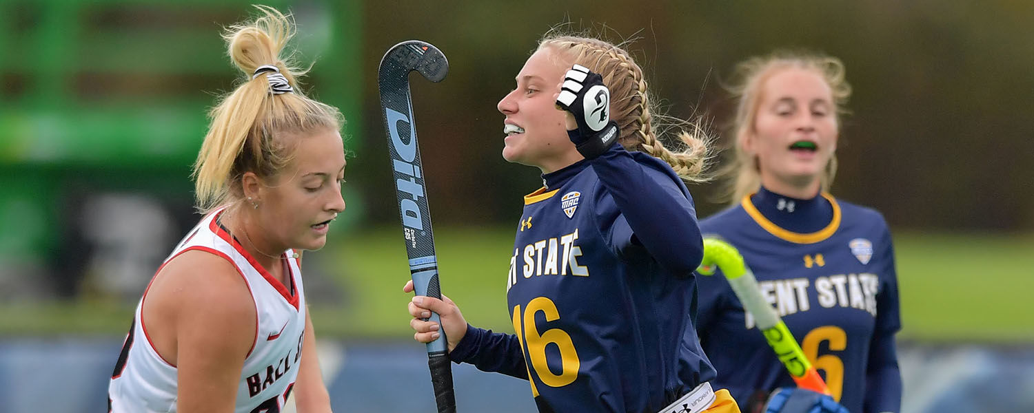 A member of the Kent State Field Hockey team celebrates a play during the Golden Flashes' 4-0 shutout victory over the Ball State Cardinals.
