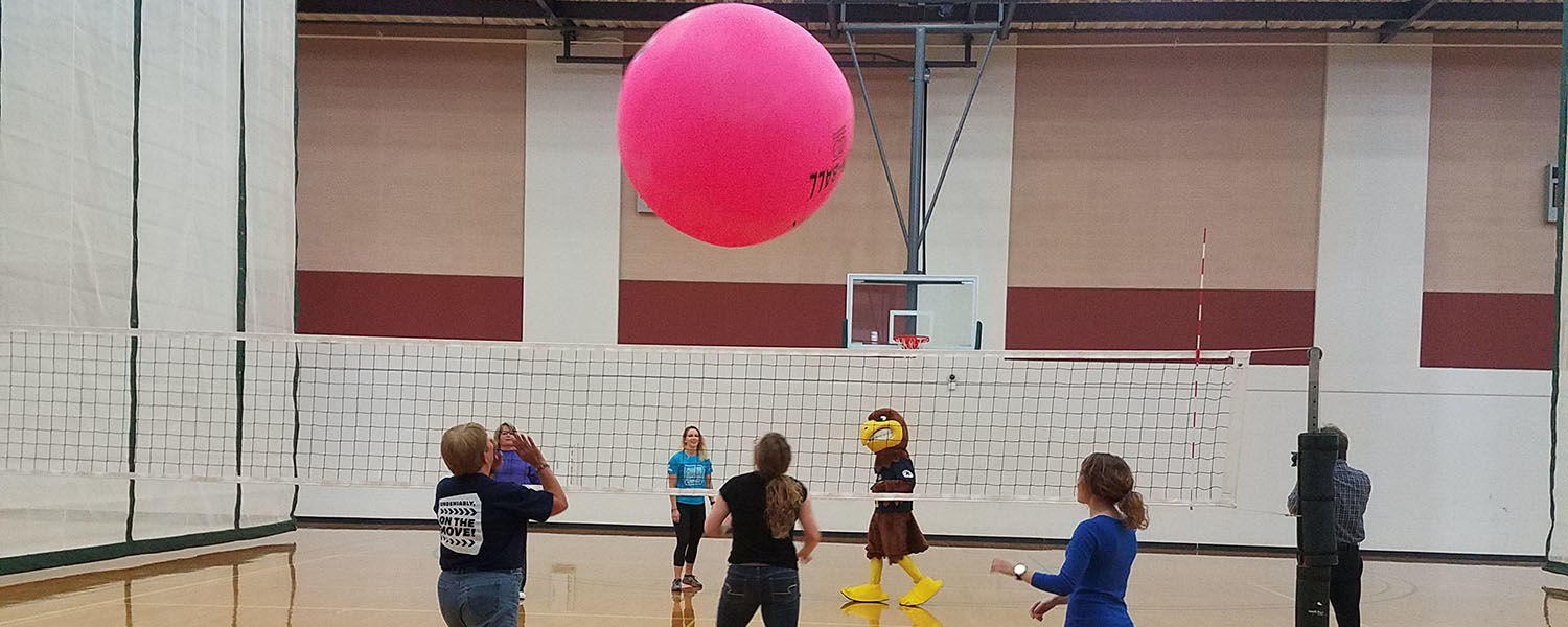 Kent State University employees play with a Kin-ball as part of several wellness activities offered by the university. Kent State employees will again compete in the national On the Move Challenge for recognition as the Most Active Employer.