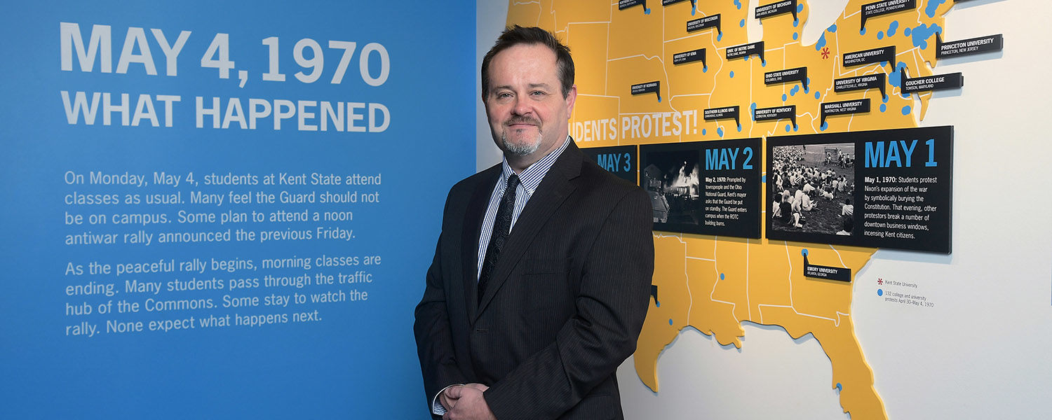 As May 4 Commemoration Project Manager, Kent State Alumnus Rodney Flauhaus is taking on the task of planning the 50th anniversary commemoration of May 4, 1970.