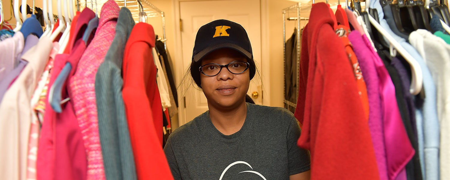 Kent State University junior Stephanie Newton shops the Career Closet for a professional outfit for an upcoming job interview.