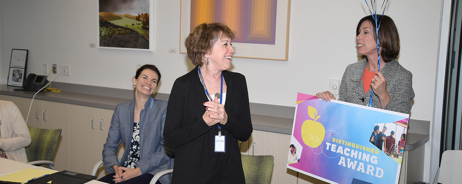 Robin Vande Zande, Ph.D., associate professor of art education at Kent State University, earned a Distinguished Teaching Award for extraordinary teaching in the classroom.
