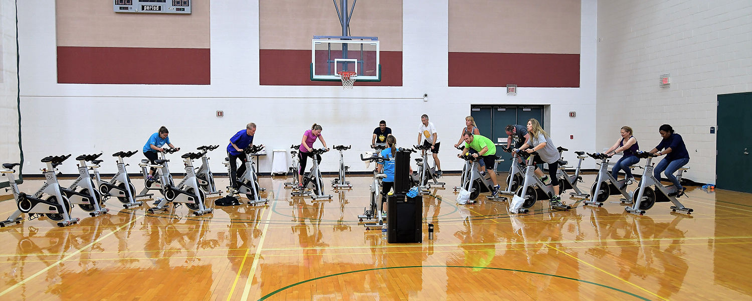 Kent State University employees work out at the Student Recreation and Wellness Center.