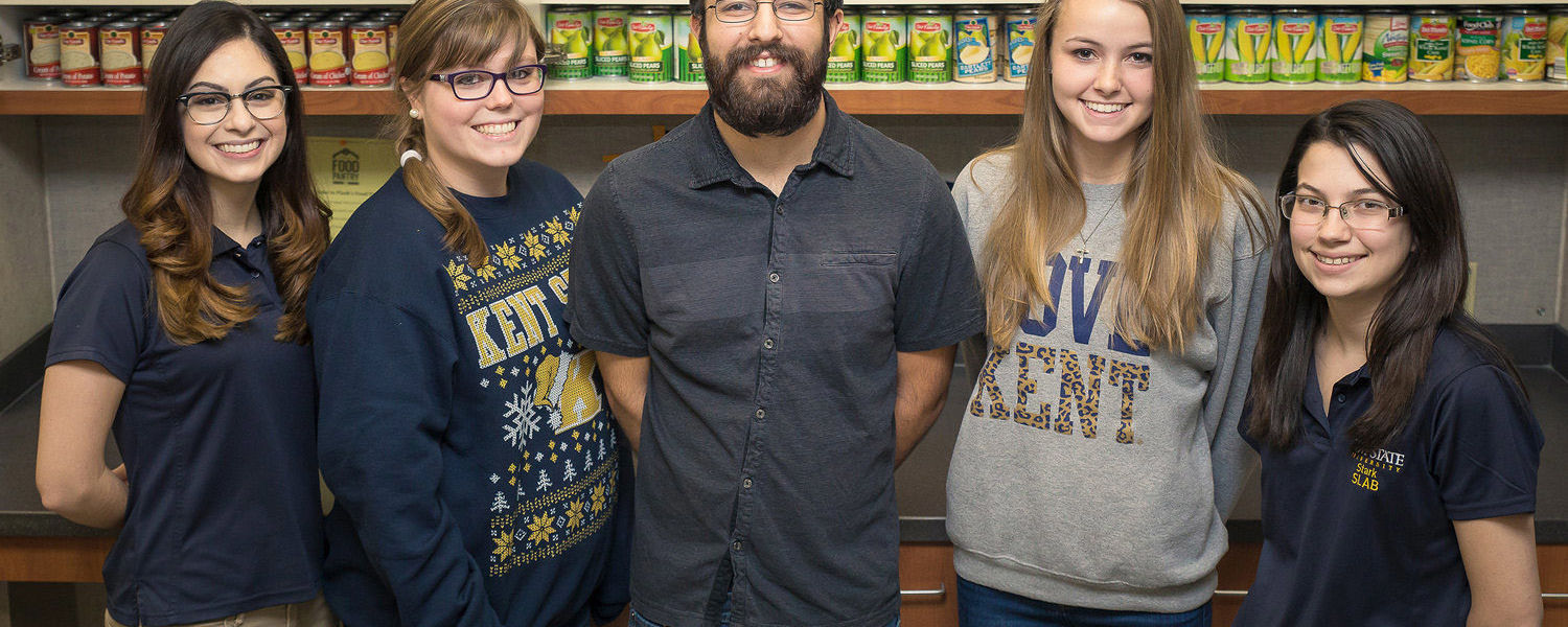 Student volunteers are ready to help in Kent State University at Stark's Flash's Food Pantry.