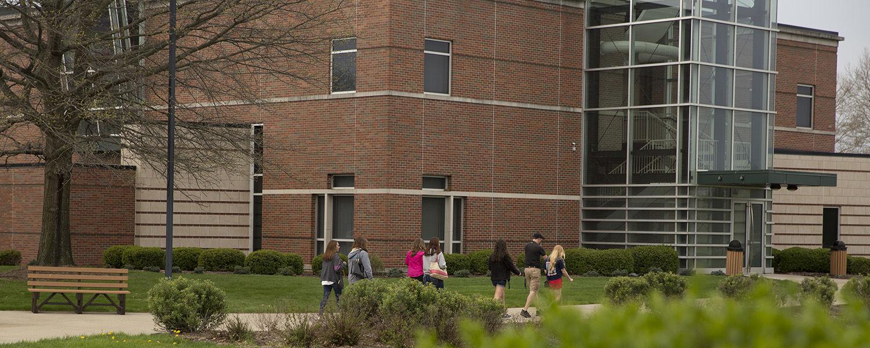 Students walk to class at Kent State University at Tuscarawas.