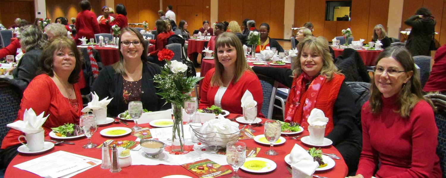 Women from the Kent State University community attend the annual Women's Heart Health Luncheon in the Kent Student Center Ballroom.