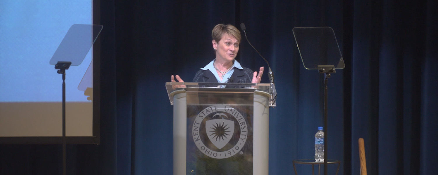 President Beverly J. Warren delivers the 2018 State of the University Address.