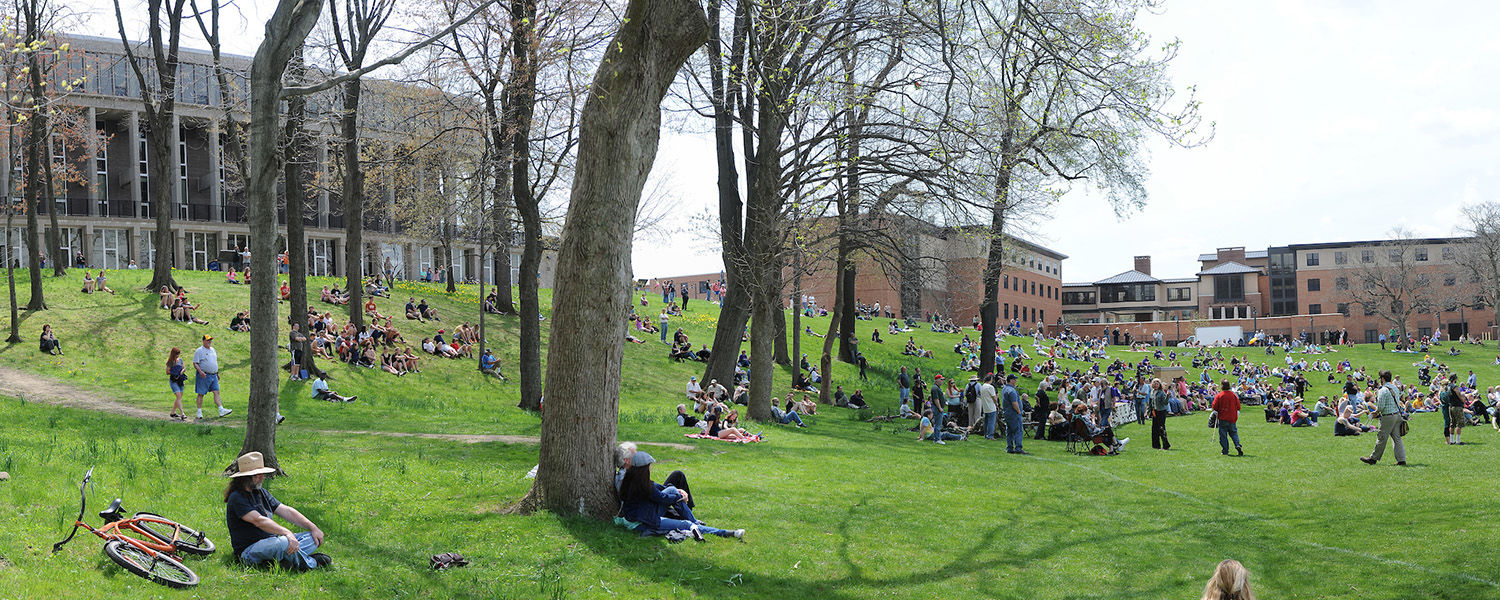 Kent State University faculty, staff, students and campus visitors gather on the Kent State Commons and Blanket Hill for the annual commemoration of May 4, 1970.