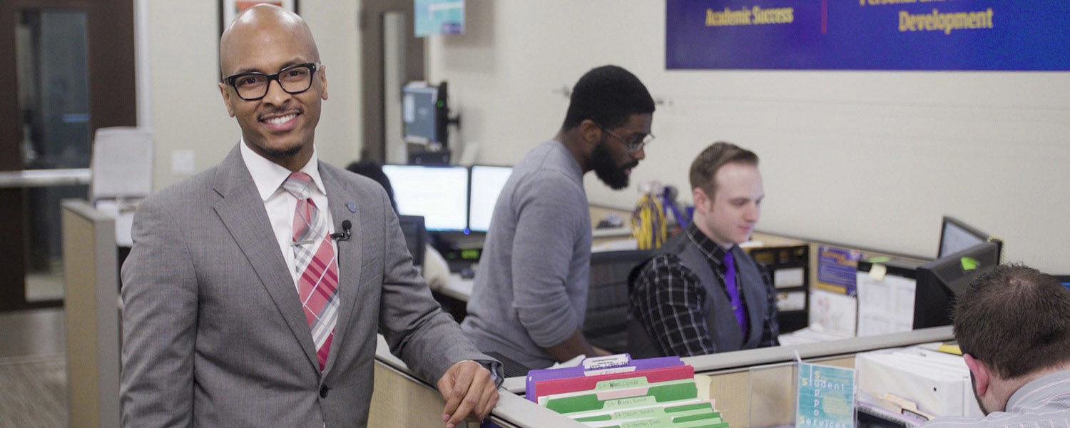 Pictured is Cason Brunt (left), director of Kent State University's Student Support Services.