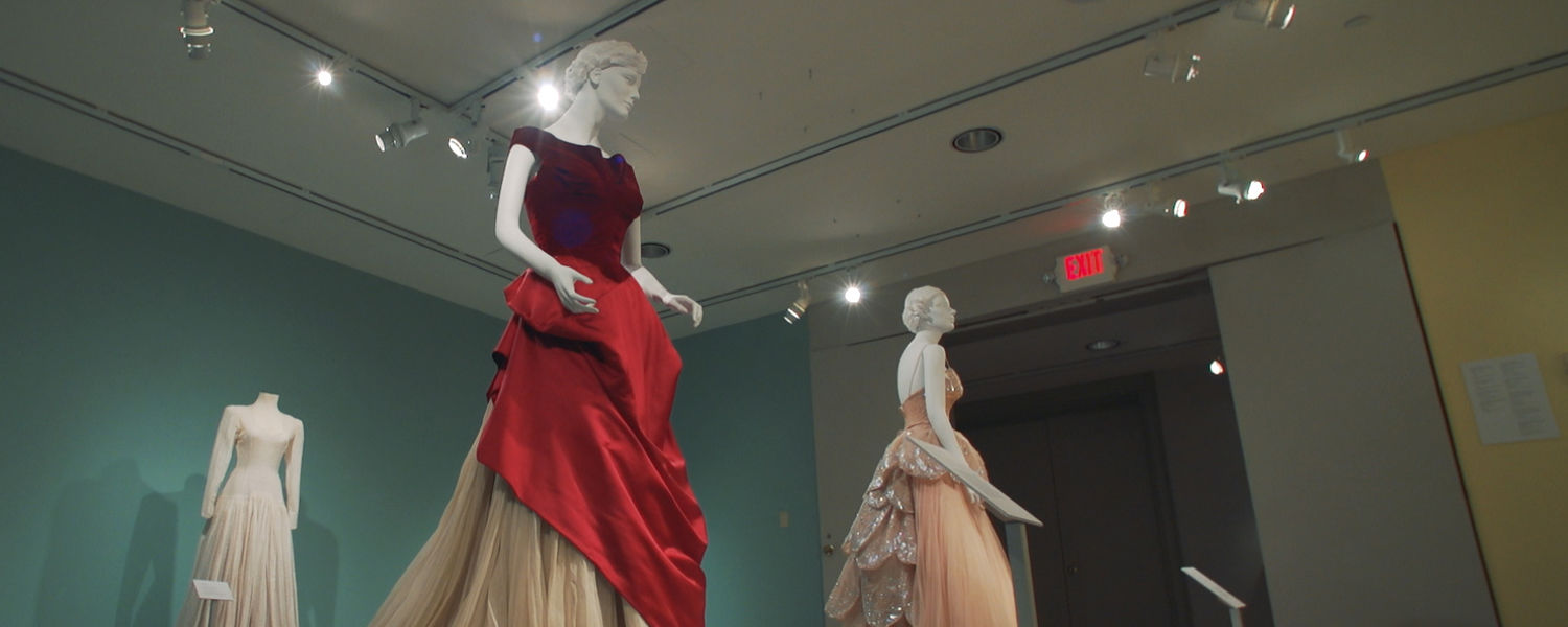 """Pictured are clothing on display as part of the Kent State University Museum's """"Fashions of the Forties"""" exhibit."""