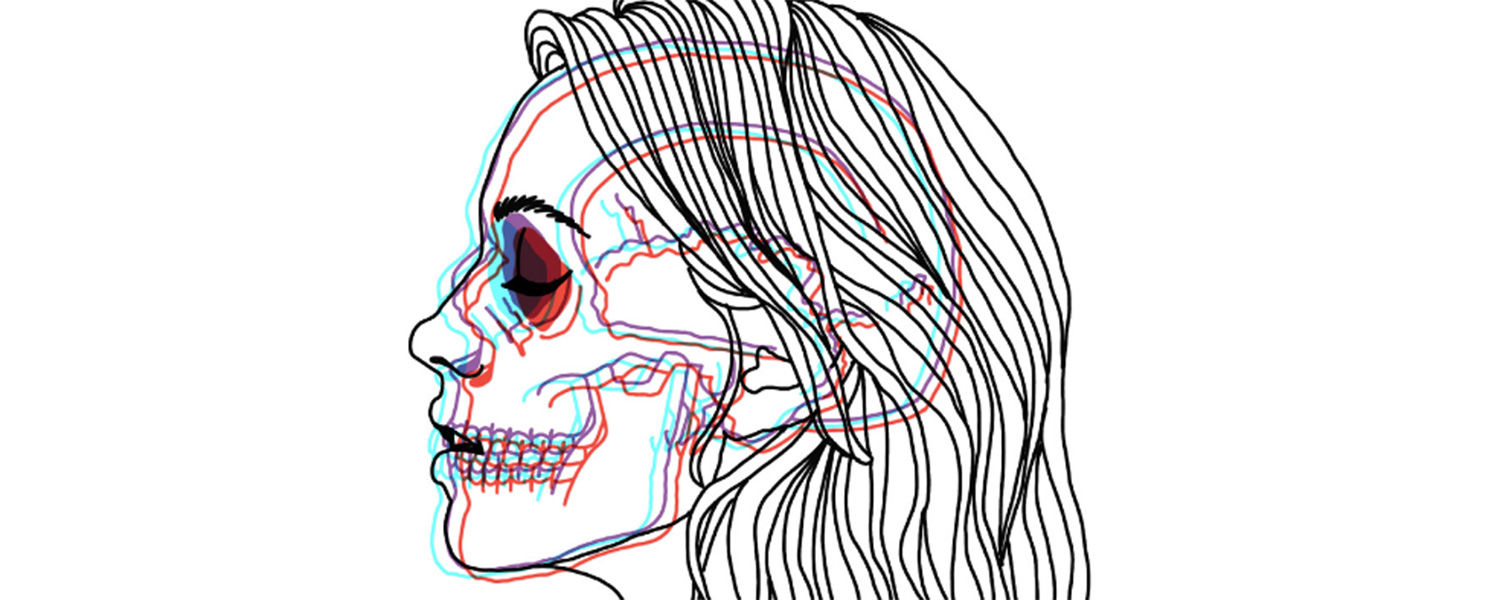 Line illustrations of a woman's profile with skull showing through hair