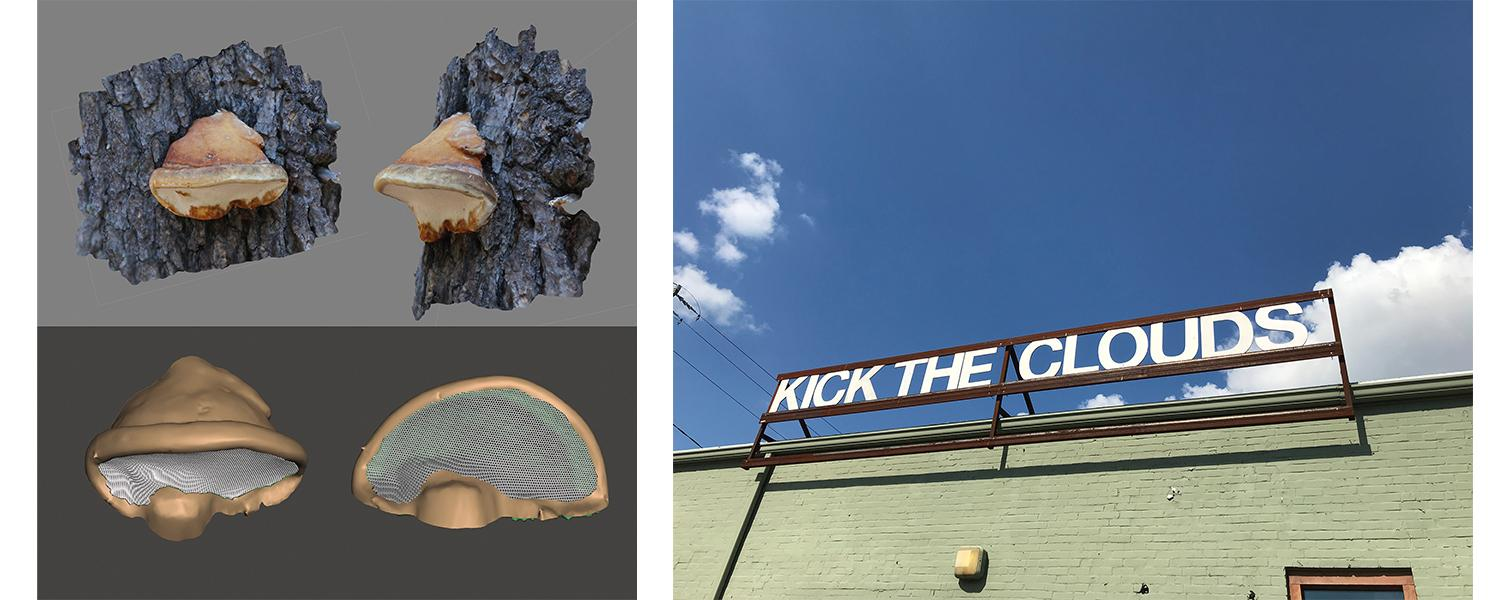 Artwork by Ben Kinsley - Digital rendering of a barnicle and a sign that says Kick the Clouds on a green building.