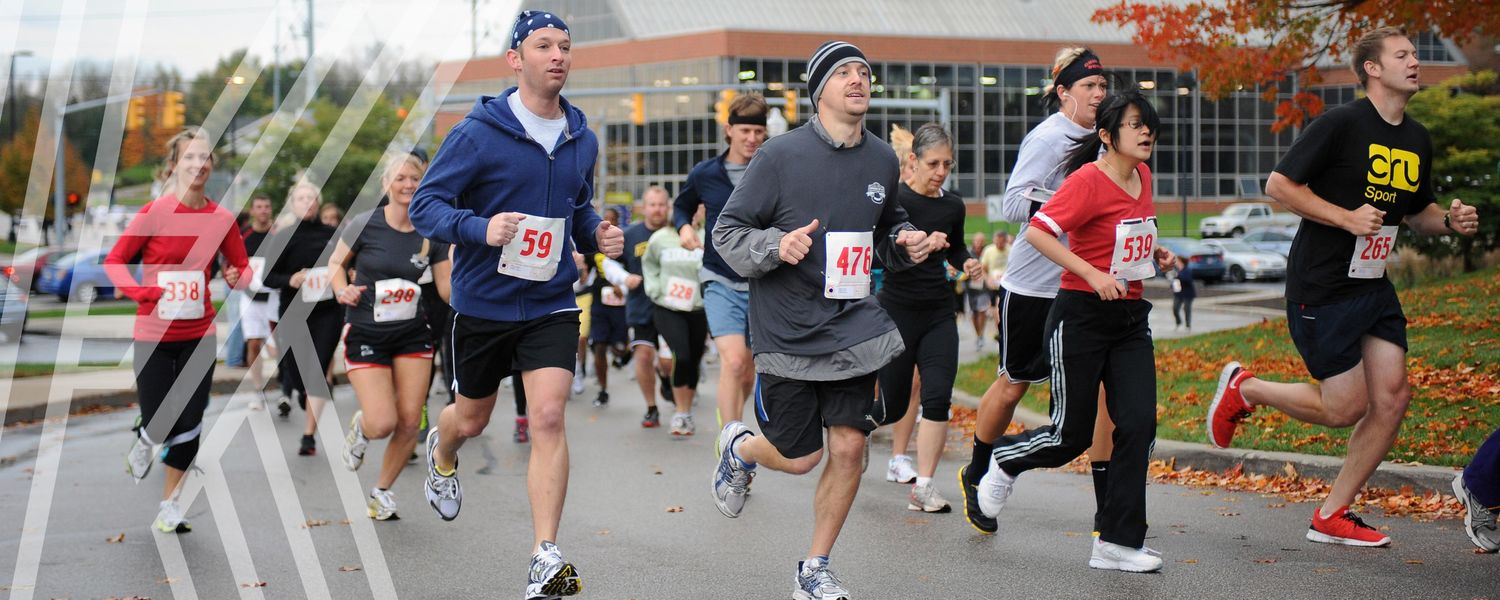 Bowman Cup 5K runners take off running around campus and is one of the Homecoming Weekend events.