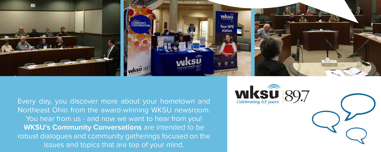 Photo of flyer for WKSU's Community Conversations