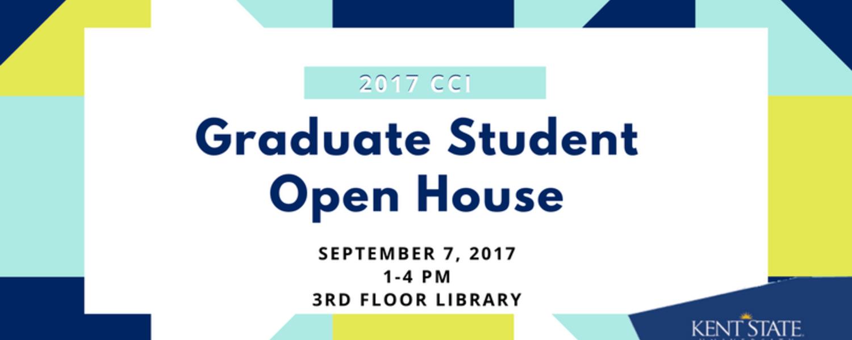 Graduate Student Open House, September 7, 2017, 1-4 p.m., 3rd floor library
