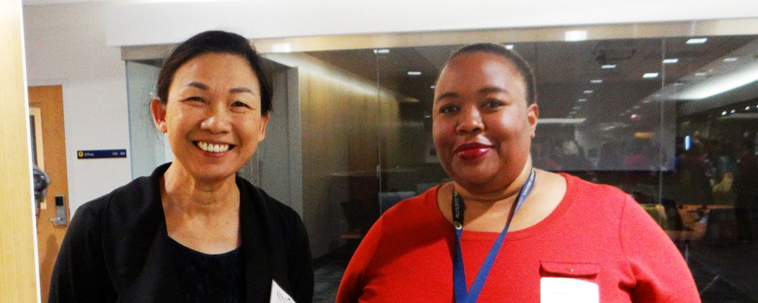 Dr. Marcia Zeng and student Julaine Clunis at the SLIS New Student Reception 2015