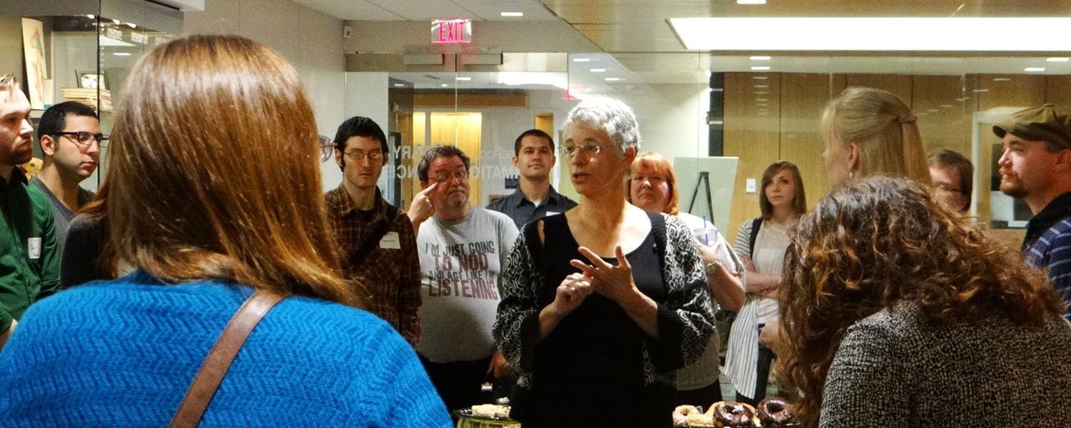 Dr. Cathy Smith at the SLIS New Student Reception 2015