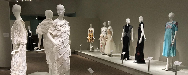Mannequins wearing fashion garments