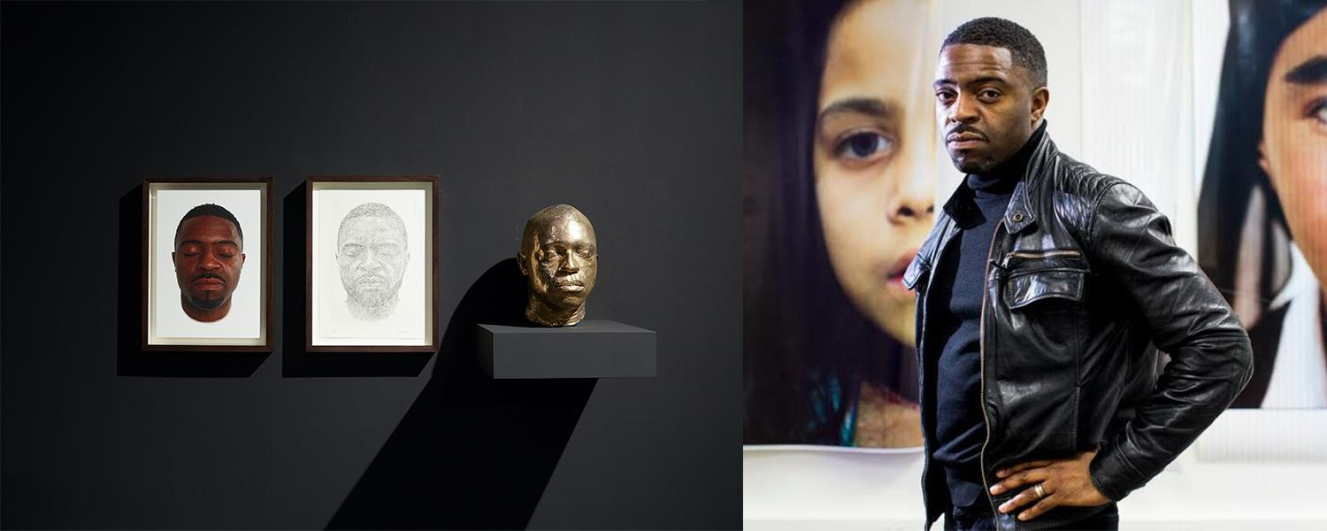 An installation of a brass bust, drawing and print of artist Faisal Abdu'Allah and a portrait of the artist on the right