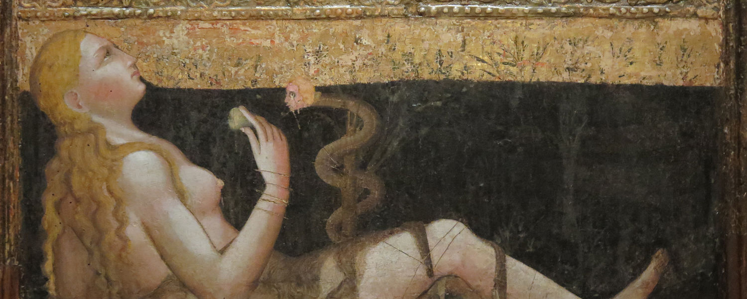 Image: Olivuccio di Ciccarello (Italian, Marche, 1360/65-1439), The Madonna of Humility with the Temptation of Eve, c. 1400, tempera and gold on wood panel, Cleveland Museum of Art, detail