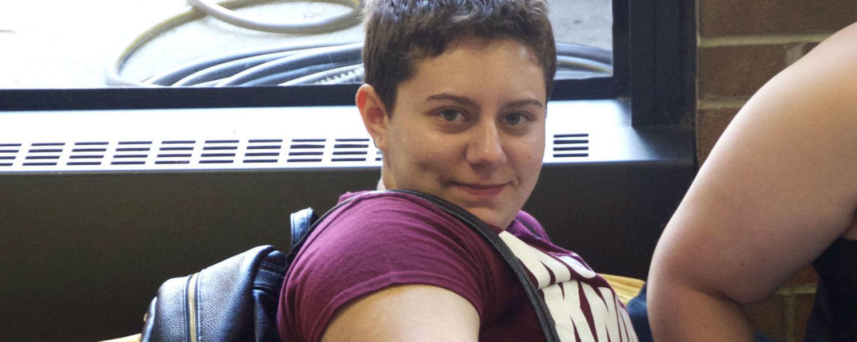 student posing