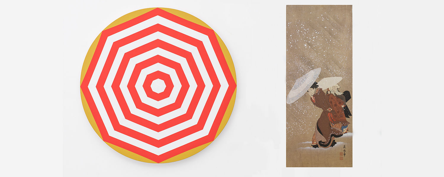 Painting by Shawn Powell of the top of a red and white umbrella displayed next to a Japanese print of two women with umbrellas.