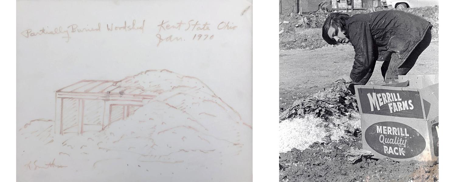 "Left image is a sketch for Robert Smithson's ""Partially Buried Woodshed,"" and right image is a photo of one of the students who helped with the project."