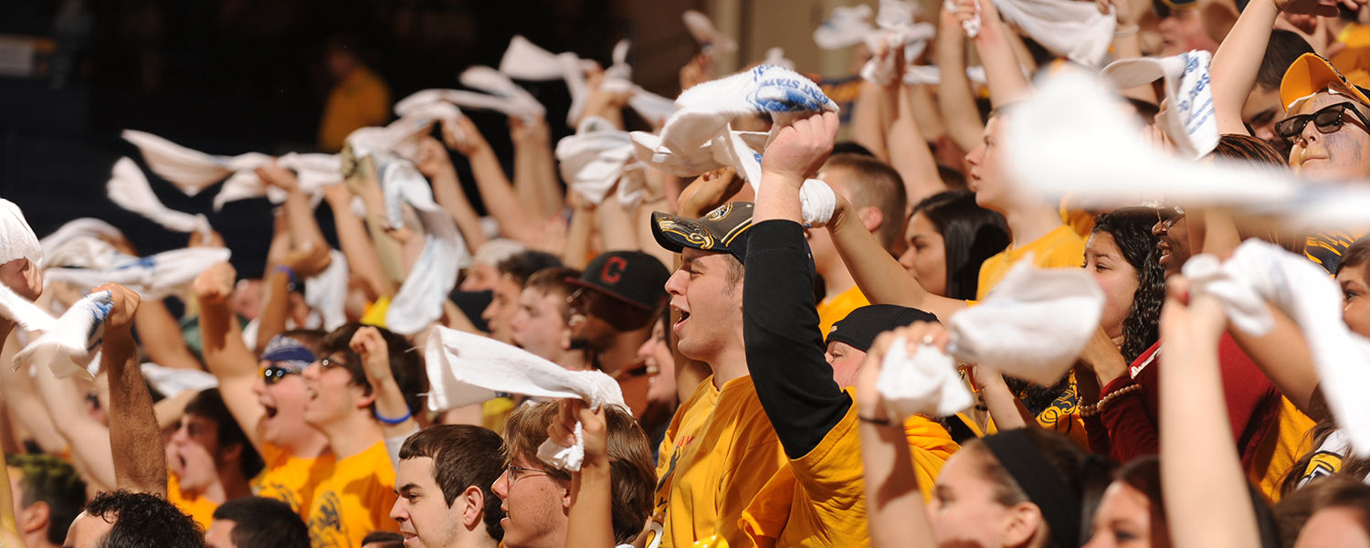 The crowd cheers at a Kent State men's basketball game in the Memorial Athletic and Convocation (MAC) Center.