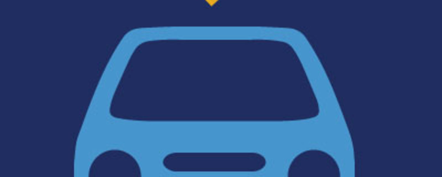 A yellow heart over a light blue car on a dark blue background