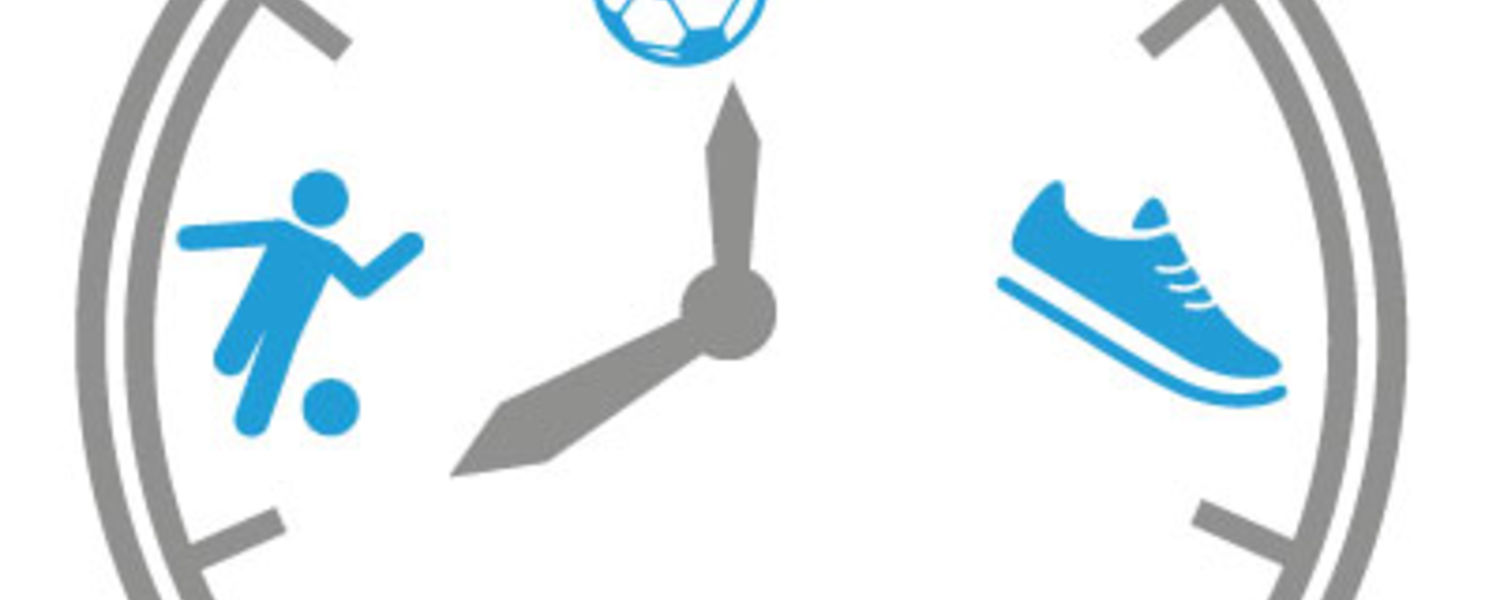 A stopwatch with a set of sports balls, a sneaker, a heart with a heartbeat monitor through it and a person running next to a ball.