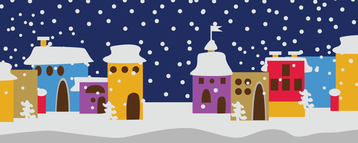 Colorful snowy vector houses