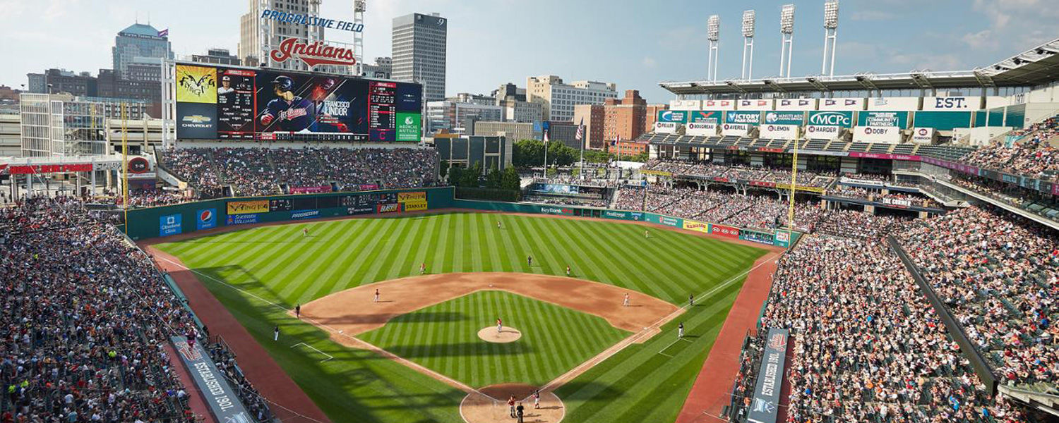 View of Progressive Field behind from home plate
