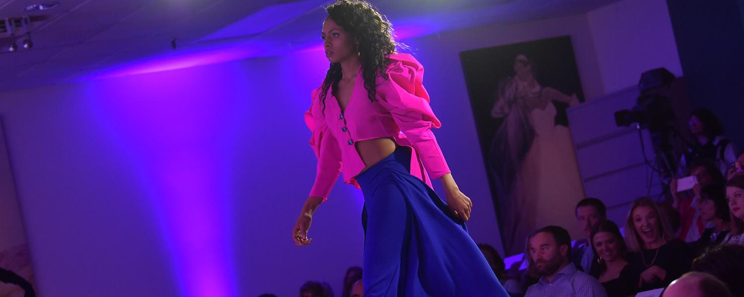 Model walks the runway during the 2019 Annual Fashion Show. (Photo by Bob Christy, Kent State)
