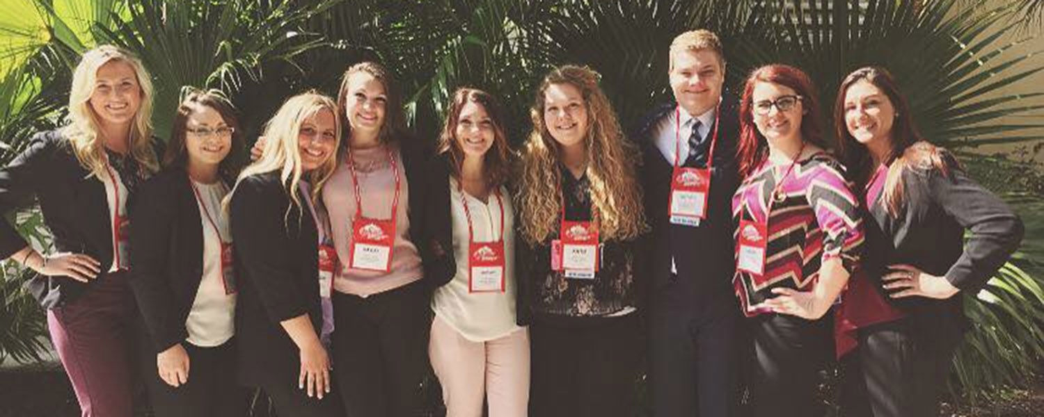 Pictured are hospitality management students from the Ashtabula and Kent campuses. They are (left to right) Jordan Manning, Meghan Simmons, Brooke Mihalick, Kaylee Madden, Brittany Hopkins, Katie Uterhark, Quintin Caponi, Chelsa Vogel and Brittany Pope.