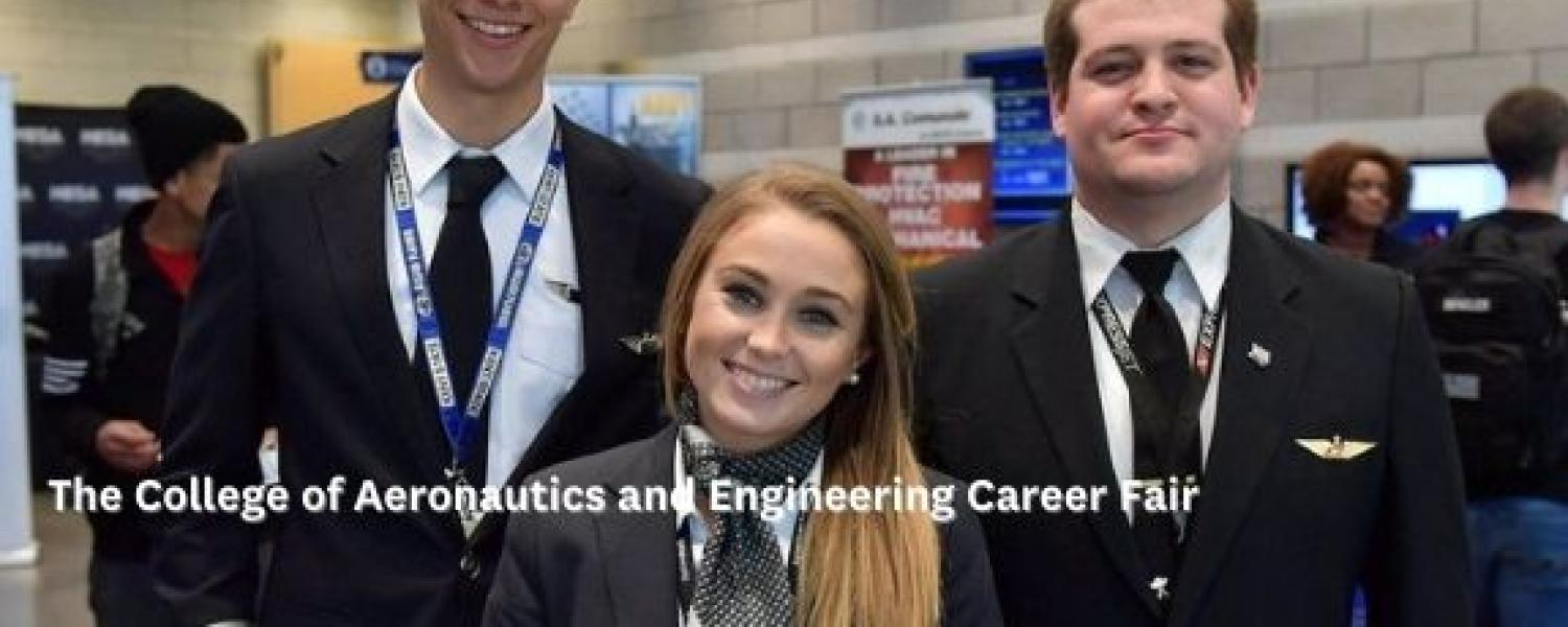 photo Aeronautics Career Fair three United Airlines interns