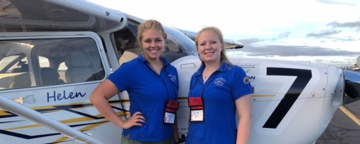 photo aeronautics students Helen Miller and Kenzie Alge in 2018 Air Race Classic morning of 061918