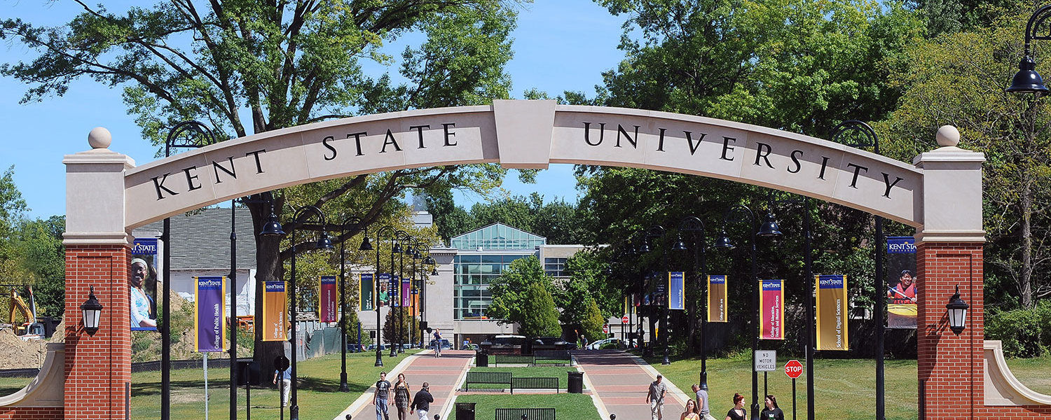 Kent State Arch, View from Downtown Kent