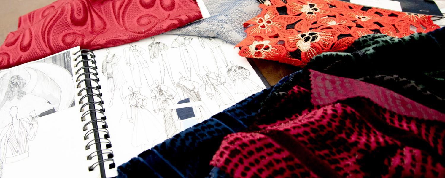 Design sketches and fabric swatches