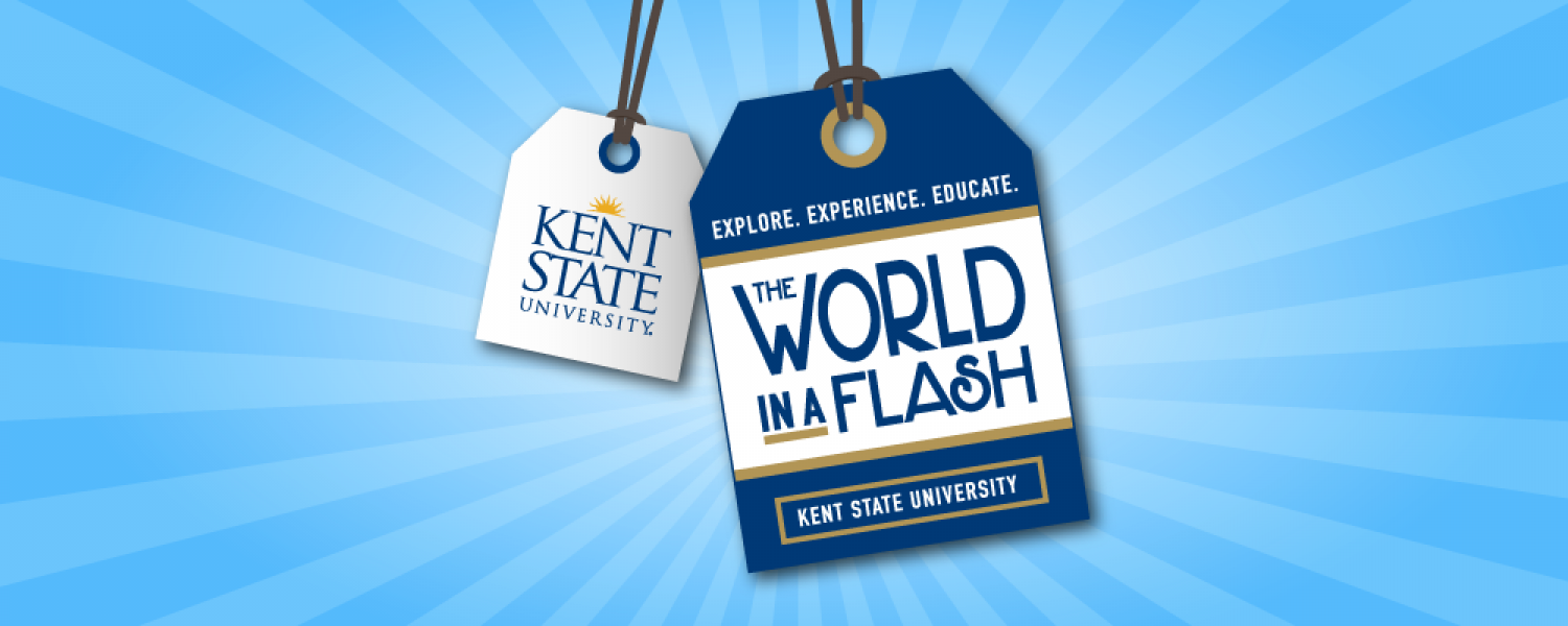 Kent State World in a Flash luggage tags