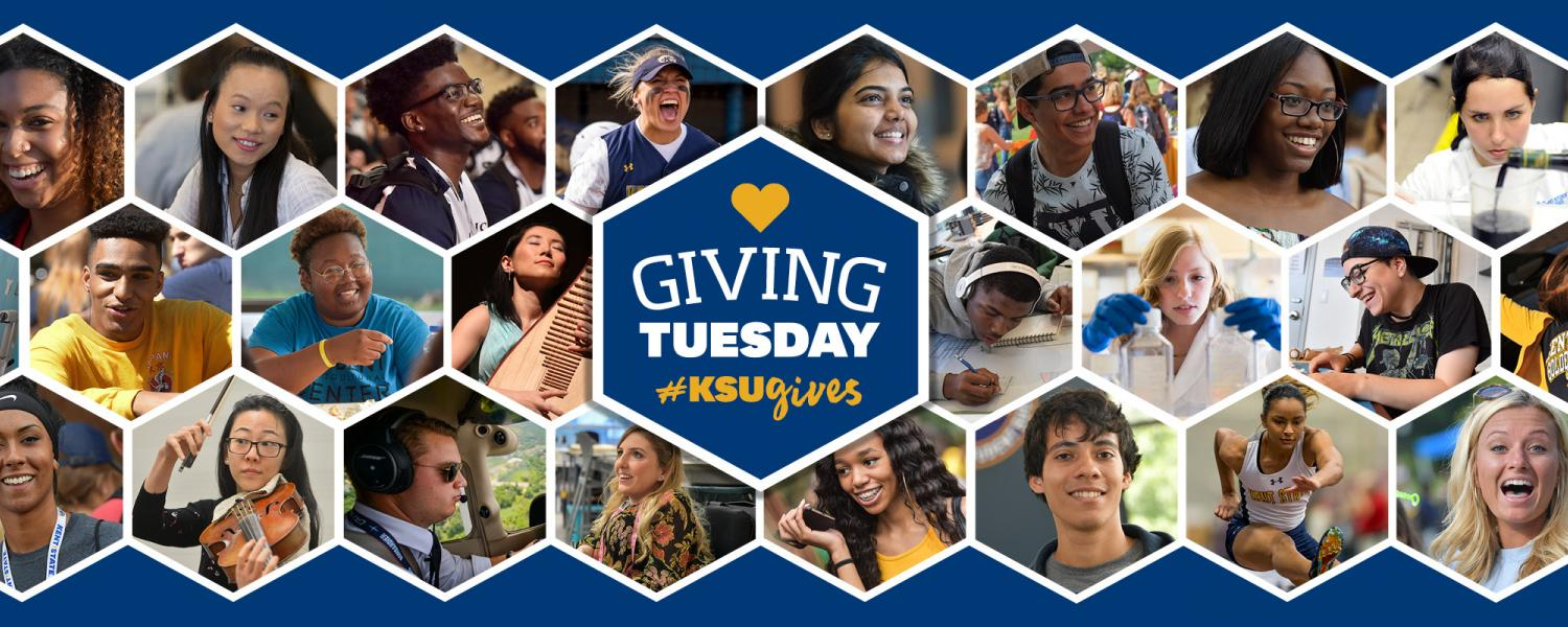 Honeycomb of photos of all different students in all majors and areas with the words Giving Tuesday #KSUGives in the center