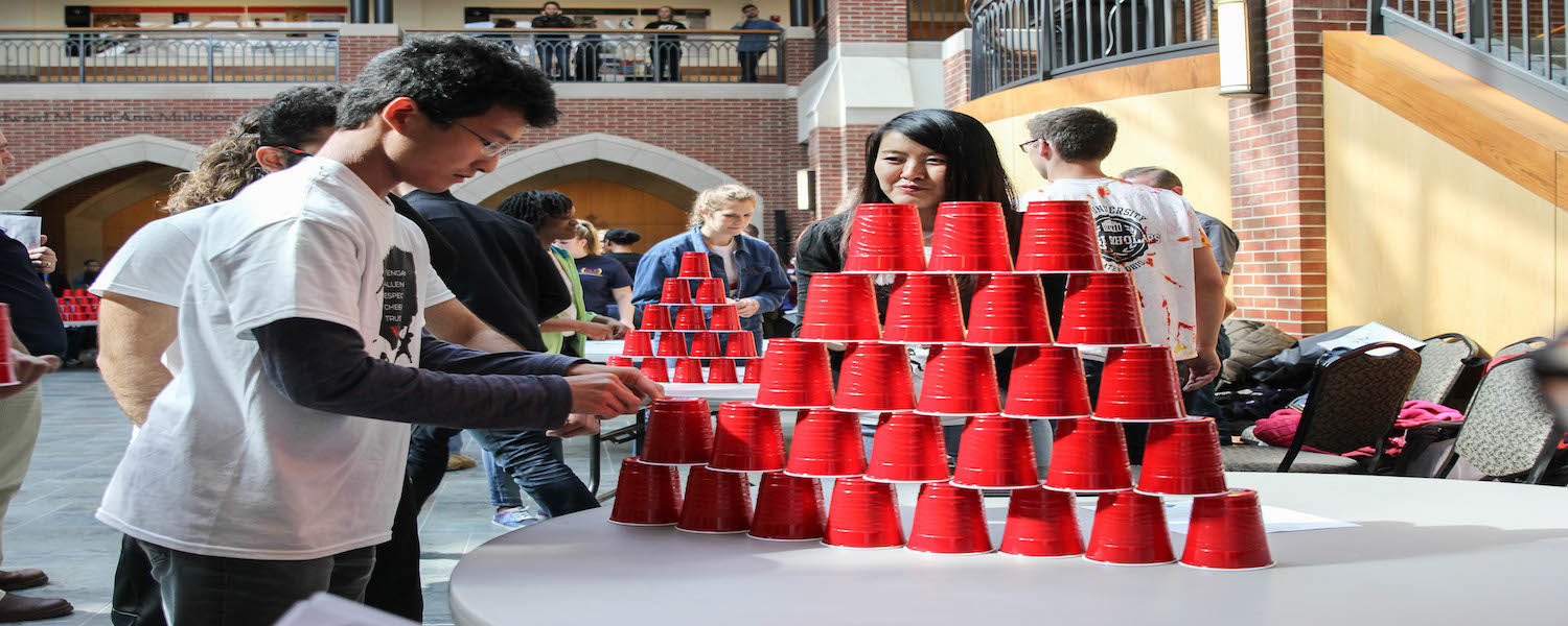 Students participate in a challenge during the Collegiate Leadership Competition.