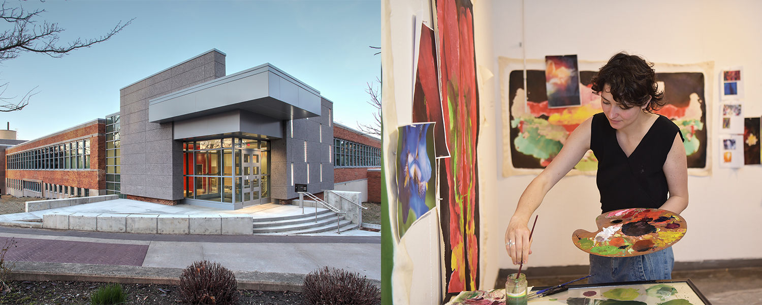 School of Art Tours, Center for the Visual Arts building and a student painting in the studio
