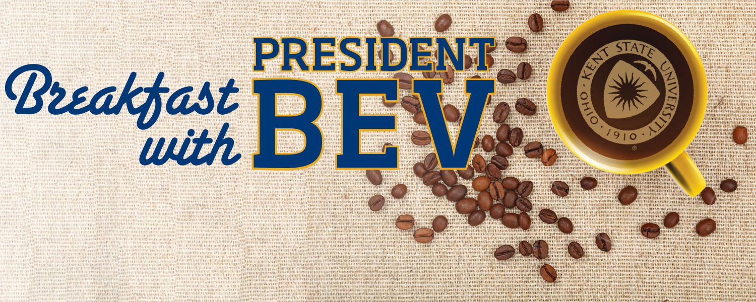 Breakfast with President Bev banner image with a coffee mug and logo.