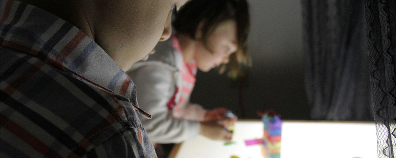 Children working with blocks