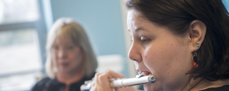 Diane Rechner teaching flute student