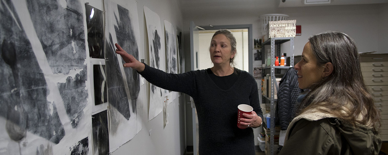 Drawing MFA student in her studio talking about her artwork