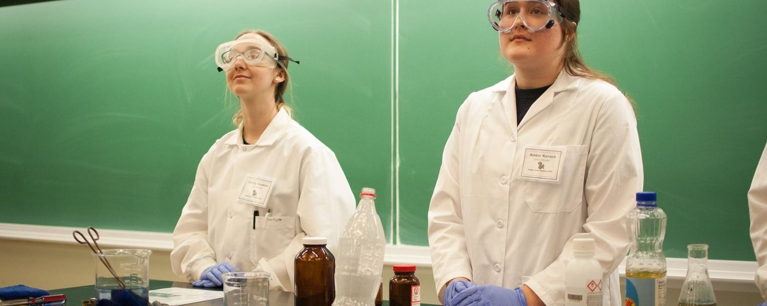 Students perform chemistry demonstrations at Explore Kent Chemistry