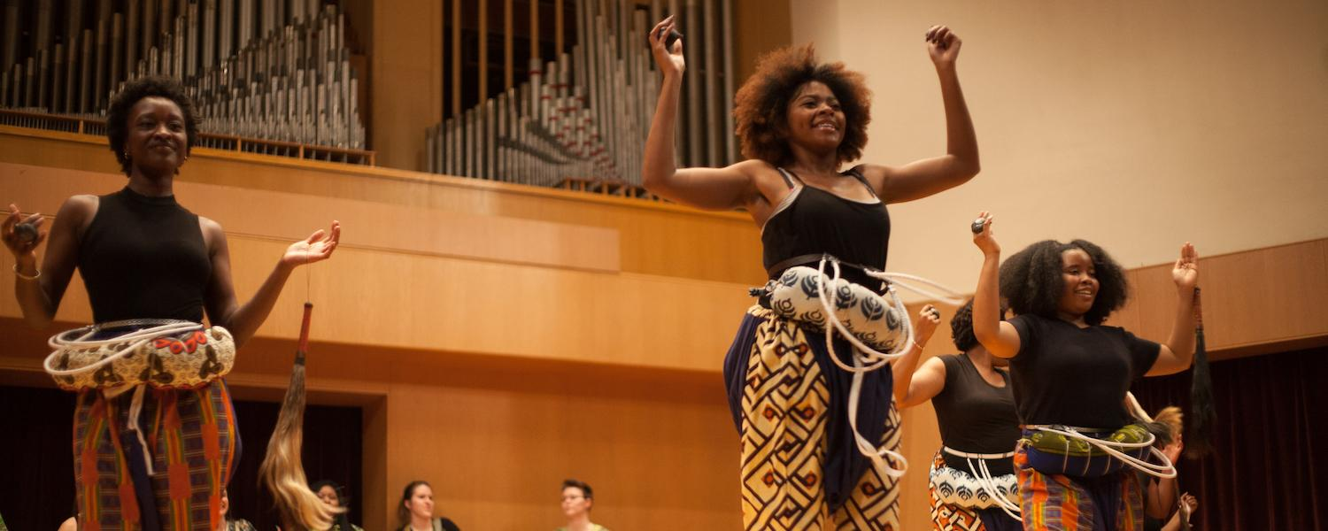 Students performing in African Ensemble