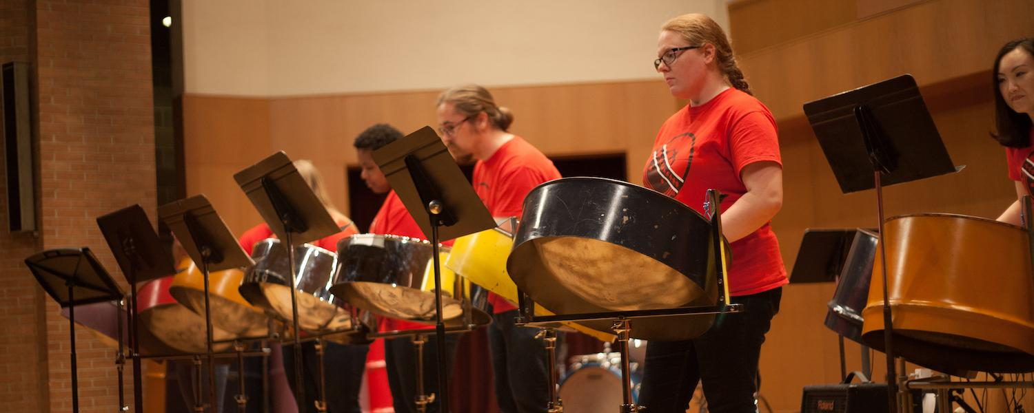 Students performing in Steel Band